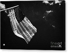 Us American Flag On Flagpole Against Blue Cloudy Sky Usa Acrylic Print by Joe Fox