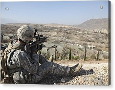 U.s Army Soldier Scans His Sector Acrylic Print by Stocktrek Images