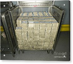 Us Dollar Bills In A Bank Cart Acrylic Print by Adam Crowley