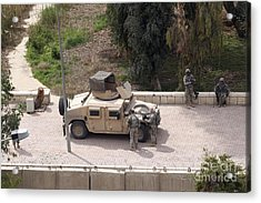 U.s. Military Soldiers Take A Well Acrylic Print by Terry Moore