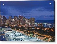 Usa Hi Honoluluwaikiki Skyline Acrylic Print by Rob Tilley