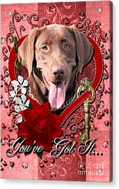 Valentines - Key To My Heart Labrador Acrylic Print by Renae Laughner