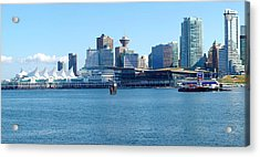 Vancouver Bc Waterfront Skyline Panorama. Acrylic Print by Gino Rigucci