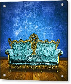 Victorian Sofa In Retro Room Acrylic Print