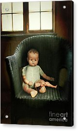 Vintage Dolls On Chair In Dark Room Acrylic Print by Sandra Cunningham