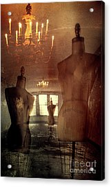 Vintage Dressforms With Abstract Grunge Background Acrylic Print by Sandra Cunningham