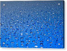 Water Drops On A Shiny Surface Acrylic Print by Ulrich Schade