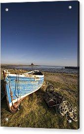 Weathered Fishing Boat On Shore, Holy Acrylic Print by John Short