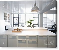 White Counters And Dining Area Acrylic Print by Andersen Ross