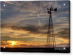 Windmill And Sunset Acrylic Print by Art Whitton