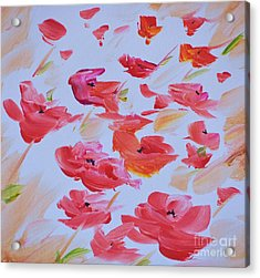 Windy Poppies No. 1 Acrylic Print by Barbara Tibbets