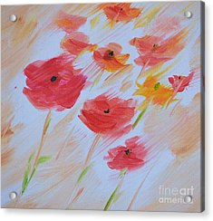 Windy Poppies No. 2 Acrylic Print by Barbara Tibbets