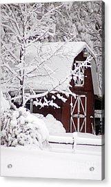 Winter Barn Acrylic Print by Cheryl Cencich