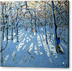 Winter Woodland Near Newhaven Derbyshire Acrylic Print by Andrew Macara