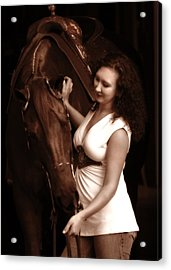 Woman And Horse Acrylic Print