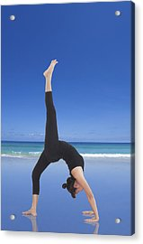 Woman Doing Yoga On The Beach Acrylic Print by Setsiri Silapasuwanchai
