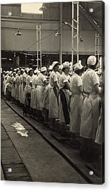 Women Working In A Grapefruit Canning Acrylic Print by Everett