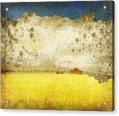 Yellow Field On Old Grunge Paper Acrylic Print by Setsiri Silapasuwanchai