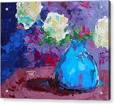 Yellow Roses In A Blue Vase Acrylic Print