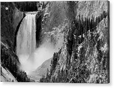 Yellowstone Waterfalls In Black And White Acrylic Print by Sebastian Musial