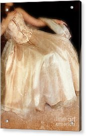 Young Lady Sitting In Satin Gown Acrylic Print by Jill Battaglia