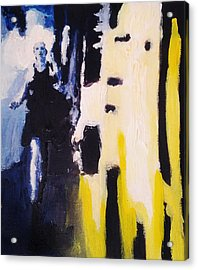 Acrylic Print featuring the painting Young Running Female Cityscape In Blue And Yellow by M Zimmerman
