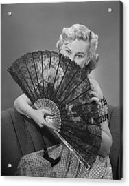 Young Woman Holding Fan, Portrait Acrylic Print by George Marks