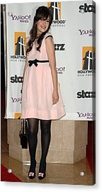 Zooey Deschanel Wearing A Luella Dress Acrylic Print by Everett