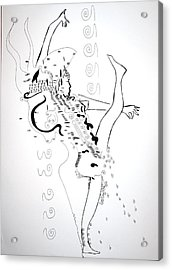 Acrylic Print featuring the drawing Zulu Dance - South Africa by Gloria Ssali