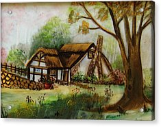 1128b Cottage Painted On Top Of Gold Acrylic Print by Wilma Manhardt