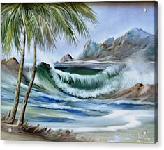 1132b Waterwave Scene Acrylic Print by Wilma Manhardt