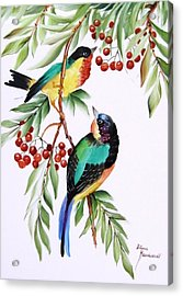 1152 Little Birds And Berries Acrylic Print by Wilma Manhardt