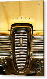 Rusted Antique Ford Car Brand Ornament Acrylic Print by ELITE IMAGE photography By Chad McDermott