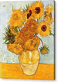 12 Sunflowers In A Vase Acrylic Print by Sumit Mehndiratta