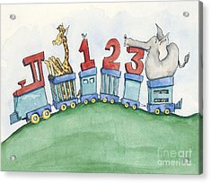 123 Animal Train Acrylic Print by Annie Laurie