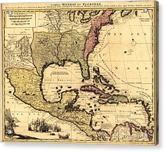 1710 Dutch Map Of North America Acrylic Print by Everett