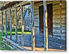 1860 Log Cabin Porch Acrylic Print by Linda Phelps