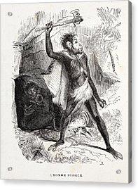 1861 Fossil Man By Boitard Acrylic Print by Paul D Stewart