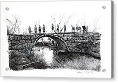 1902 Bridge Postcard Acrylic Print by Gary Gackstatter