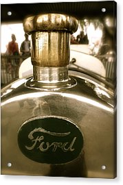 Acrylic Print featuring the photograph 1918 Ford Model T Indianapolis Hood Badge by John Colley