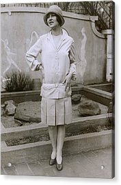 1927 Suit With A Mid-knee Pleated Skirt Acrylic Print by Everett