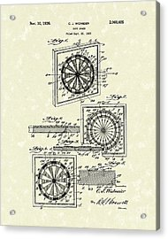 1936 Patent Art Dart Board Acrylic Print by Prior Art Design