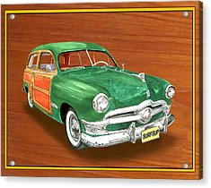 1950 Ford Country Squire Woody Acrylic Print by Jack Pumphrey