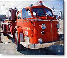 1954 American Lafrance Classic Fire Engine Truck Acrylic Print by Kathy Clark