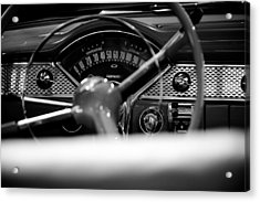 1955 Chevy Bel Air Dashboard In Black And White Acrylic Print by Sebastian Musial