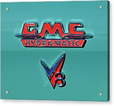 1955 Gmc Suburban Carrier Pickup Truck Emblem Acrylic Print by Jill Reger