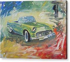 1955 Green Tbird Acrylic Print by Candace Nalepa