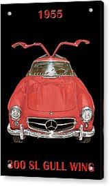 1955 Mercedes Benz 300sl Gull Wing  Acrylic Print by Jack Pumphrey