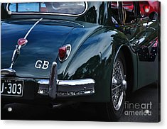 1956 Jaguar Xk 140 - Rear And Emblem Acrylic Print by Kaye Menner