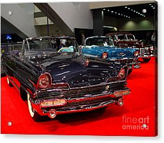 1956 Lincoln Premiere Convertible . Blue . 7d9244 Acrylic Print by Wingsdomain Art and Photography